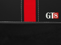 Pokrowce samochodowe, Pokrowce uniwersalne alkantara, skórzane w kolorze czarno - czerwony,.