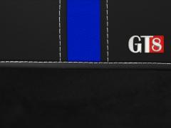 Pokrowce samochodowe, Pokrowce uniwersalne alkantara, skórzane w kolorze czarno - niebieski,.