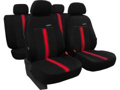 Pokrowce samochodowe, Pokrowce uniwersalne skórzane w kolorze czarno - czerwony,.