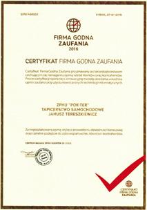 Firma godna <strong>zaufania</strong> 2016